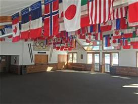 Flags hanging from ceiling