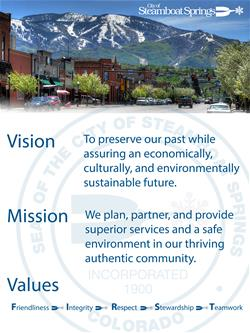 Image with vision mission and values