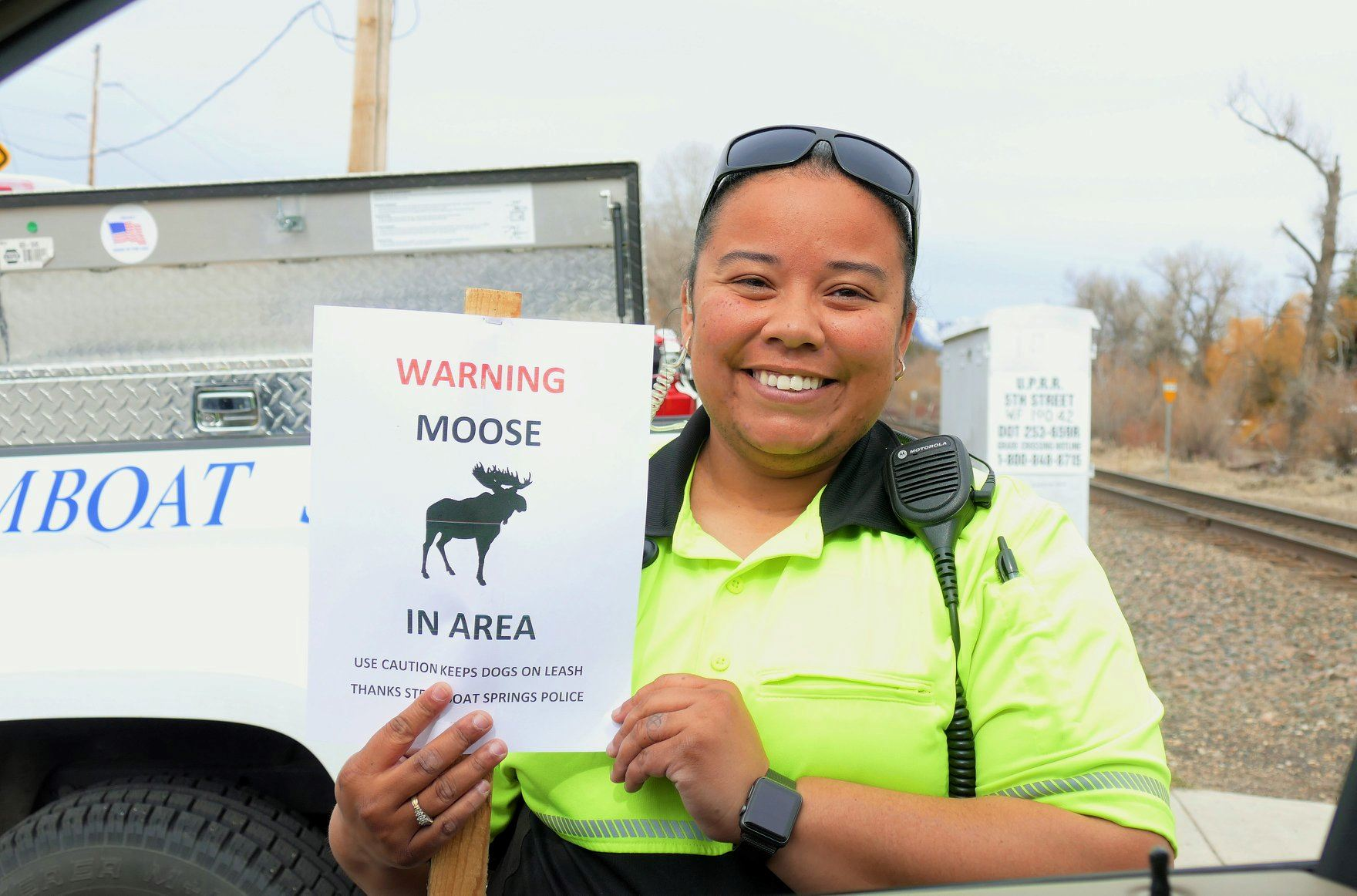 Community Service Officer Moose Warning