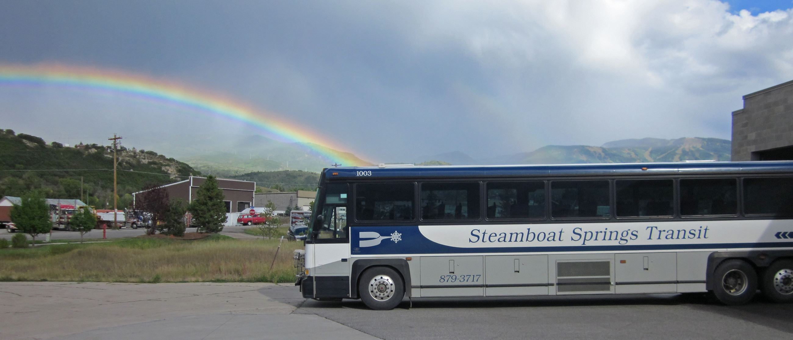 regional bus with rainbow sept 2013