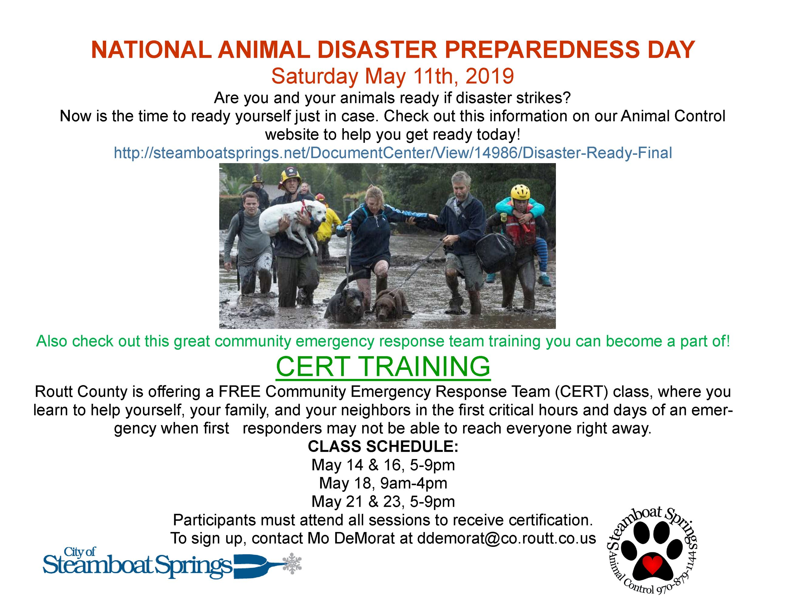 National Animal Disaster Preparedness Day 2019