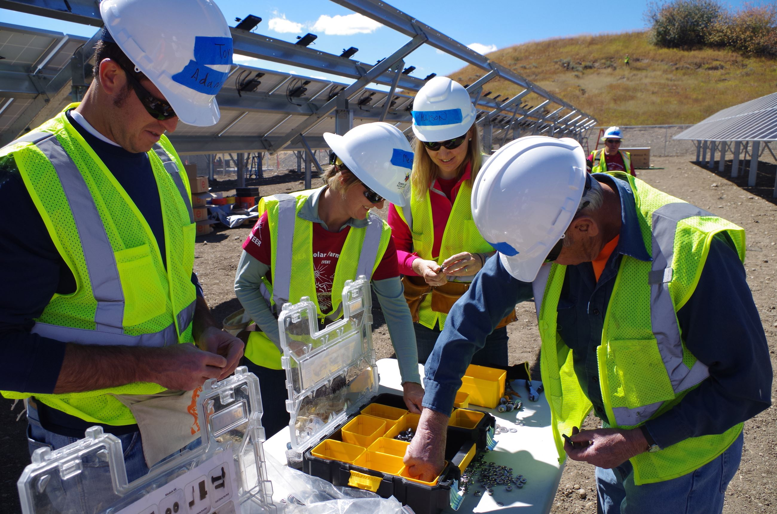 Community work day at GRID solar array at YVEA campus