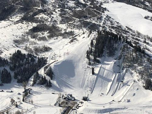 Aerial view of a snow covered ski area